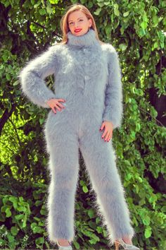 Grey hand knitted mohair sweater bodysuit fuzzy gray catsuit by SUPERTANYA SALE in Kleidung & Accessoires, Damenmode, Pullover & Strick Mohair Yarn, Mohair Sweater, Catsuit, Gros Pull Mohair, Pullover Outfit, Icelandic Sweaters, Shawls And Wraps, S Models, Sweater Outfits