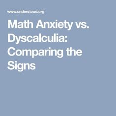 Math anxiety and dyscalculia are different, but the signs can look similar. Which is causing your child's trouble with math? Use this chart to compare the signs. What Causes Stress, What Causes Anxiety, How To Treat Anxiety, Deal With Anxiety, Anxiety Tips, Anxiety Help, Test Anxiety, Teen Depression