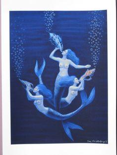 Blue hair MERMAIDS fantasy art artist signed Poster by HalstenbergStudio