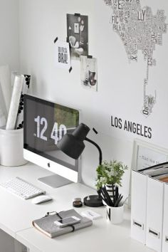 Home office. Work space area. #white #home #office For guide + advice on lifestyle, visit www.thatdiary.com