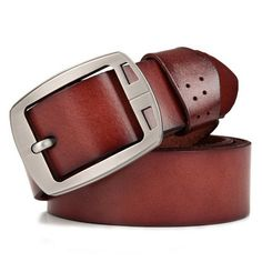 Fashionable Hollow Out Metal Pin Buckle Solid Color Belt For Men