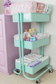 Organize Baby Essentials with a Diaper Cart - Vauvan Huone - Raskog Ikea, Mom Brain, Nursery Organization, Baby Bottle Organization, Changing Table Organization, Diaper Organization, Nursery Storage, Organization Ideas, Baby Hacks