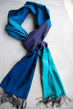 Blue Block Scarf, Handwoven Silk: All my favorite vibrant colors in a handspun and handwoven silk scarf from Kabul.