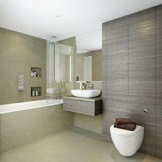 Douche  l'italienne avec carrelage grand format | salle de bain | Pinterest