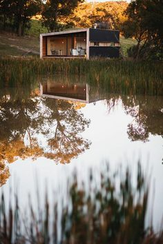 lakeside wooden cabin in rural Victoria, Australia