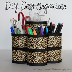 DIY Desk Organizer - simple and quick - recycled tin cans, duct tape and ribbon. Love this! Need to make!