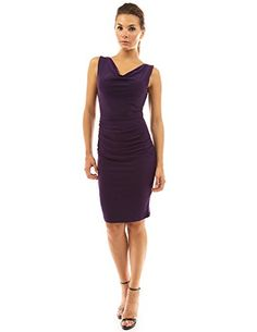 PattyBoutik Womens Cowl Neck Sleeveless Ruched Dress Dark Purple S ** Visit the image link more details.(This is an Amazon affiliate link)