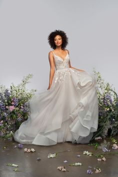 Style 62109 Hermione Hayley Paige bridal gown - Wingardium Rose beaded tulle ball gown, curved V-neckline and sheer V-back with rhinestone trim, illusion side cut out detail, floral beaded embroidery trickling into the cascading tulle skirt. Tulle Balls, Tulle Ball Gown, Ball Gowns, Hermione, Hayley Paige Bridal, Bridal Fashion Week, Bridal Boutique, Bridal Style, Bridal Dresses