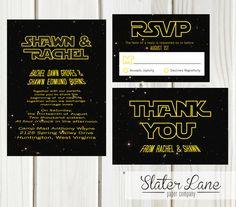 Simple, straightforward, theme invitation set for a Star Wars wedding!