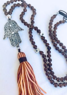 Hamsa mala necklace, Brown mala necklace, Glass necklace, Tassel long necklace, Yoga jewelry, Yoga necklace, 108 Mala Beads, Prayer Beads by Katiaicrafts on Etsy