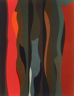 Karl Benjamin: Curved Shapes #4, oil on canvas, 140 x 107 cm (55 x 42 in), 1963