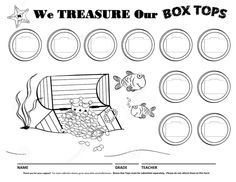 Treasure Chest Ocean Box Tops for Education Collection Sheet Pirate Box, Pirate Theme, Box Tops Collection Sheets, Box Tops Contest, Relief Society Handouts, Class Bulletin Boards, Parent Club, Kindergarten Social Studies, School Fundraisers