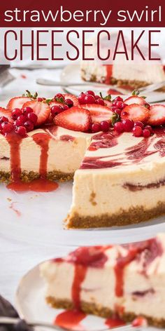 SWIRL CHEESECAKE is an easy dessert recipe made with simple homemade strawberry sauce and smooth, creamy baked cheesecake. STRAWBERRY SWIRL CHEESECAKE is an easy dessert recipe made with simple homemade strawberry sauce Strawberry Swirl Cheesecake, Best Cheesecake, Easy Cheesecake Recipes, Strawberry Sauce, Strawberry Recipes, Non Bake Cheesecake, Cheescake Recipe, White Chocolate Raspberry Cheesecake, Chocolate Cheesecake Recipes
