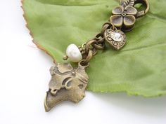 Cameo, pearl and heart  vintage style bag charm £18.00
