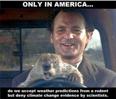Only in America do we accept weather predictions from a rodent but deny climate change evidence by scientists.