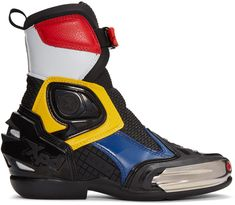 Alyx Multicolor Moto Boots 171776F113005 | $815 |   Ankle-high leather and 'lorica' faux-leather motorcycle boots colorblocked in black, navy, yellow, and light grey. Logo-embossed rubberized trim in black throughout. Stainless steel slider plate in silver tone at round toe