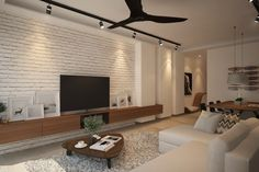 tv console with feature wall - Google Search
