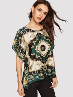 To find out about the Scarf Print Tee at SHEIN, part of our latest Blouses ready to shop online today! Love Fashion, Fashion News, Diy Fashion, Spring Blouses, How To Wear Scarves, Summer Shirts, Printed Tees, Scarf Styles, Blouse Designs