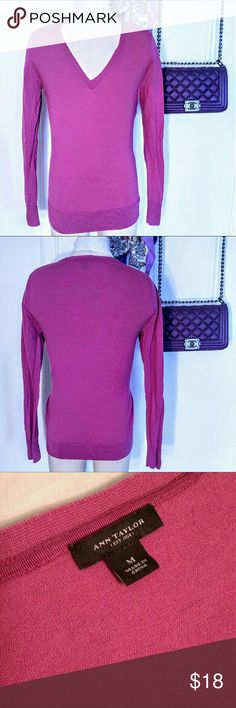"Ann Taylor Maroon Merino wool sweater Ann Taylor Maroon Merino wool sweater  100% merino wool Size M 15"" Bust Great condition, very soft! Ann Taylor Sweaters V-Necks"