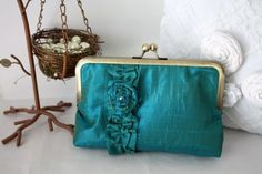 Sac à main turquoise de mariage #teal #turquoise