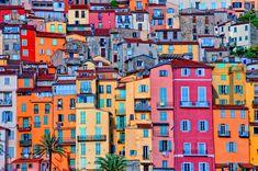 MENTON, COTE D'AZUR, FRANCE  Colourful houses, sea, beach, mountains