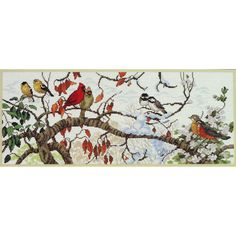 Elsa Williams BIRD SEASONS Cross Stitch Kit Four Seasons Samper Cardinals Robins Etc by NeedleLittleTherapy on Etsy Christmas Greetings, Merry Christmas, Crewel Embroidery Kits, Star Work, Chart Design, Counted Cross Stitch Kits, Metallic Thread, Robins, Four Seasons