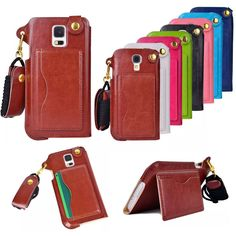 Sport Luxury PU Leather Neck Lanyard Card Slot Filp Stand Case Cover For Samsung