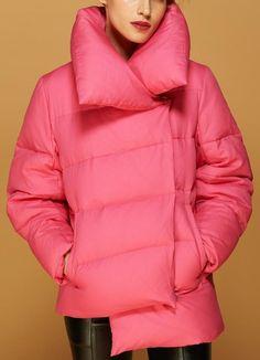 Large Collar Paneled Puffer Down Jacket in Pink