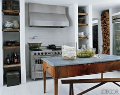 table turned kitchen island. love the backless bench that can be stored under the table/island. http://becauseimaddicted.net/2011/07/diy-6-makeshift-kitchen-island-ideas.htm