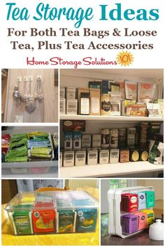 Here are tea storage ideas and organization tips for both tea bags and also loose tea, plus tips for organizing tea accessories such as strainers, honey spoons and more on Home Storage Solutions 101 Home Organization Hacks, Pantry Organization, Organizing Tips, Organising, Decluttering Ideas, Cleaning Tips, Home Storage Solutions, Storage Ideas, Tea Party