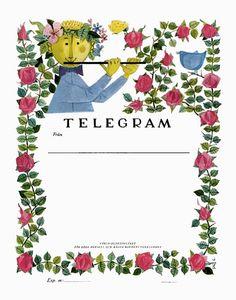 illustration, frame, Swedish telegram by Stig Lindberg by P-E Fronning, via Flickr