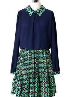 Navy and Green Diamond Tribal Print Long Sleeve Dress,  Dress, long sleeve dress  print dress, Casual