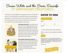 Snow White and the Seven Dwarfs 75th Anniversary Sweepstakes