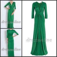 MUS003 Free Shipping Cheapest Charming High Quality V Neck 3/4 Long Sleeves Green Jersey Formal Muslim Evening Gowns-in Evening Dresses from Apparel Accessories on Aliexpress.com $109.00