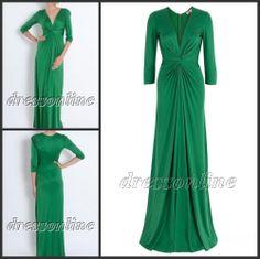 Long Sleeve Green Evening Gowns