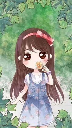 Drawing cute flowers illustrations 18 New ideas Cute Kawaii Girl, Cute Cartoon Girl, Cute Love Cartoons, Kawaii Chibi, Cute Chibi, Anime Chibi, Girly Drawings, Kawaii Drawings, Cute Girl Wallpaper