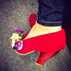 Irregular Choice red glitter lemon pips shoes.