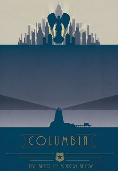 Bioshock Infinite: Columbia by mariafumada Bioshock Tattoo, Bioshock 1, Bioshock Series, Bioshock Infinite, All Video Games, Video Game Art, City Of Columbia, Travel Posters, Gaming Posters