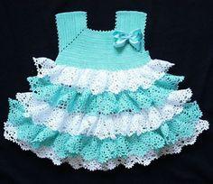 Бирюзовое платье для девочки крючком. Платье для девочки вязаное крючком