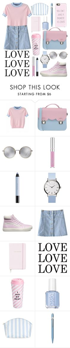 """Милый наряд для прогулок."" by bosyax ❤ liked on Polyvore featuring La Cartella, Linda Farrow, shu uemura, Vans, Chicnova Fashion, Kate Spade, ban.do, Essie, Caran D'Ache and Casetify"