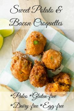 Sweet potato and bacon croquettes. Gluten-free, Grain-free, Paleo, Dairy-free and Egg-free. By Paleo Diet and Fitness.