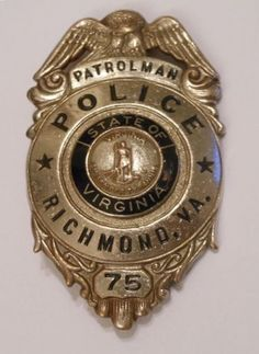 Obsolete Richmond Va Vintage/Antique Police Badge made by H.S. Reese New York