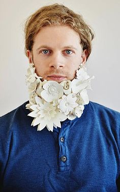 "Rebecca Hannon - ""Flower beard"" 2013 - beard ornament (!!!) cone 10 porcelain, sterling silver"