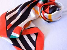 Marcelline Designer Scarf Red Green Yellow Black White Bold Stripes, Italian Style, 70s 80s by CandyAppleCrafts, $15.00