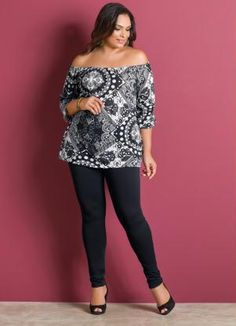 Blusa Decote Ciganinha (Estampada) Plus Size #PlusSize