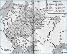 Historical Map of the Russian principalities at the time of the Tatar invasion 1240