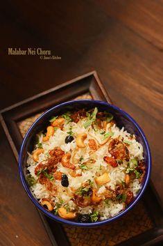 Malabar Ghee rice - Kerala Neichoru recipe Cuisine of Kerala Veg Recipes, Lunch Recipes, Indian Food Recipes, Kerala Recipes, Vegetarian Recipes, Cooking Recipes, Ethnic Recipes, Indian Snacks, Cooking Tips