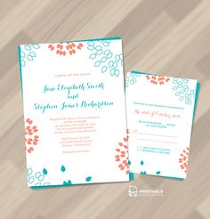 FREE PDF download. Summer Petals Invitation and RSVP  set. Perfect for a summer wedding. For customizations: printableinvitationkits[at]gmail[dot]com