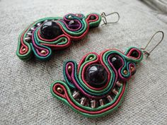 Soutache earrings - green black red