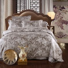 In Love Grey Jacquard Damask Luxury Bedding Duvet Cover Sets, Furniture, Bed, Home, Luxury Bedding, Luxury, Damask Bedding, Bedding Sets, Home Decor